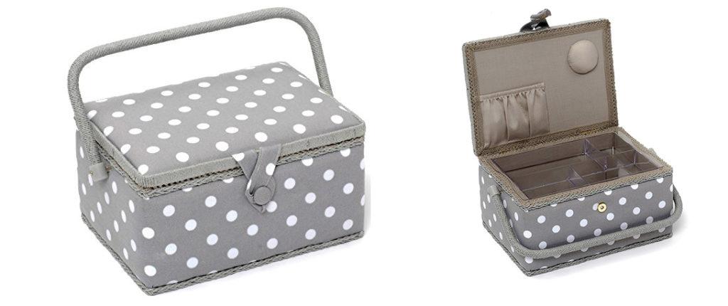 photo de la boite à couture hobby gift gris pois blanc